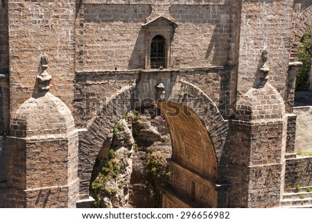 Detail of new bridge from 18th century in Ronda, Andalusia, Spain - stock photo