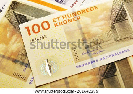 Detail of new Danish currency issued in 2010 (crown or krone, DKK) - stock photo