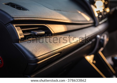 Detail of new modern car interior, Focus on air-con - stock photo