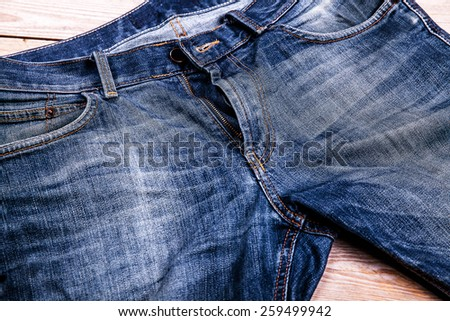 Detail of nice blue jeans  - stock photo