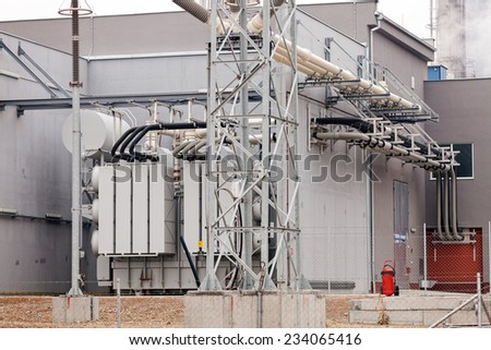 detail of oil pipeline with valves in large oil refinery