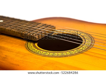 Detail of old acoustic guitar.