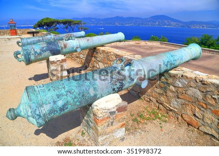 Detail of old bronze canon on sunny walls of Saint Tropez fortress, French Riviera, France - stock photo