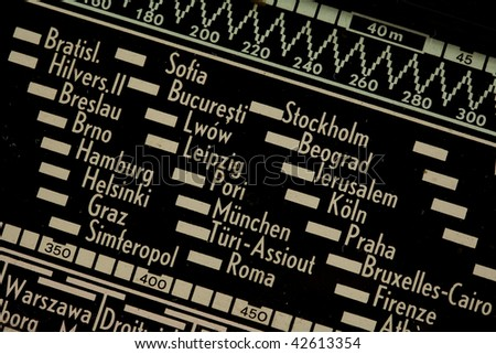 detail of old radio list of frequencies - stock photo