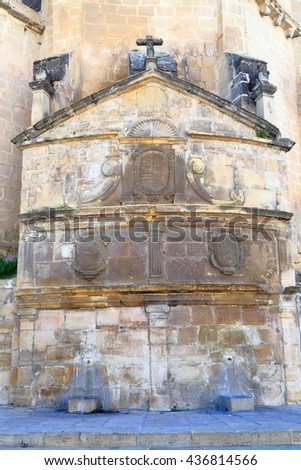 Detail of old sculptures decorating San Pablo church in Ubeda, Andalusia, Spain - stock photo