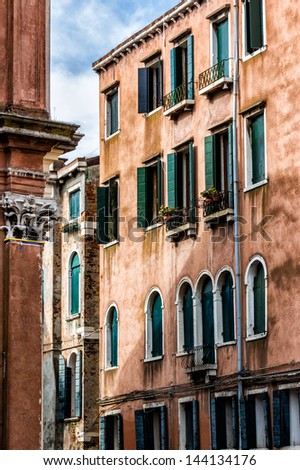 Detail of old venetian walls - stock photo
