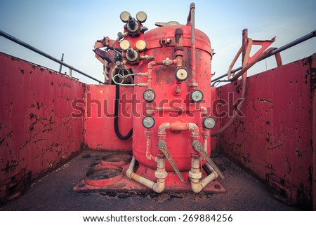 Detail of old vintage classic fire truck - stock photo