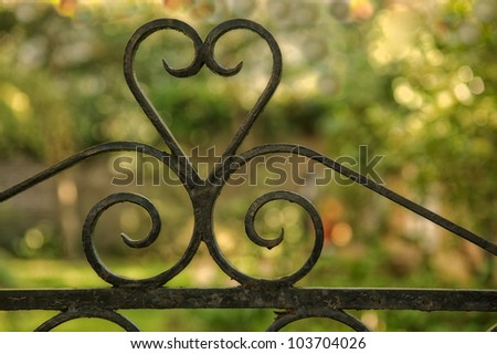 Detail of old wrought iron fence in Charleston, South Carolina