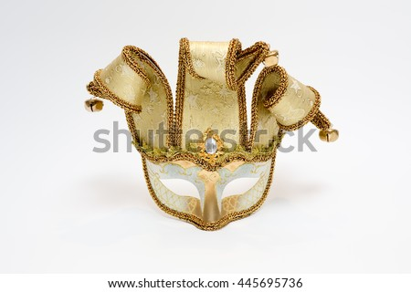 Detail of original venetian carnival mask - stock photo