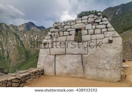 Detail of perfect Inca stonework at Machu Picchu ruins, Peru - stock photo