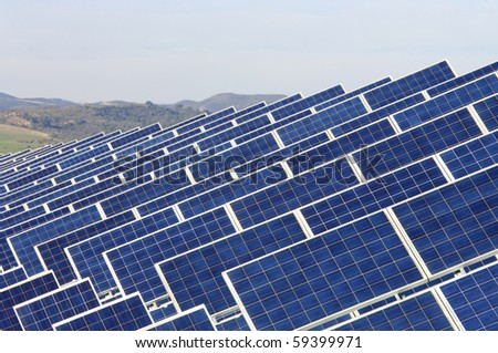 detail of photovoltaic solar panels for renewable electric energy production - stock photo