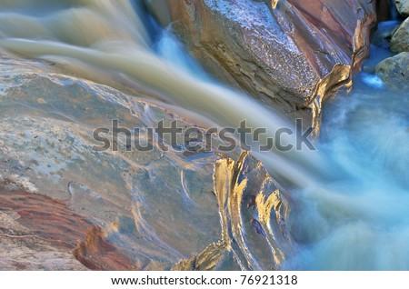 Detail of Pine Creek, Zion National Park, Utah, USA - stock photo
