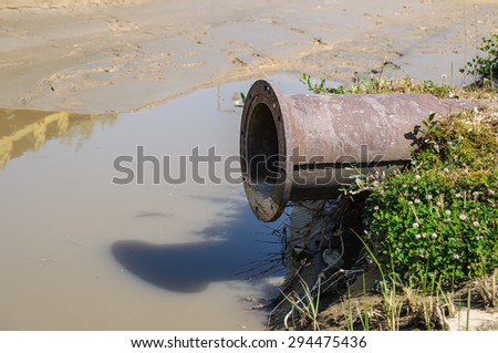 detail of pipe ending in nature - stock photo