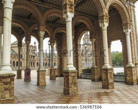 Detail of Plaza de Espana in Sevilla, Spain. Built in 1928 for the Ibero-American Exposition of 1929.