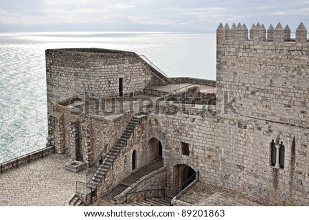 Detail of Pope Luna's Castle in Peniscola - stock photo