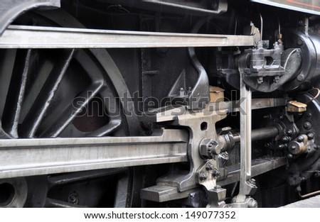 Detail of preserved British steam locomotive - stock photo