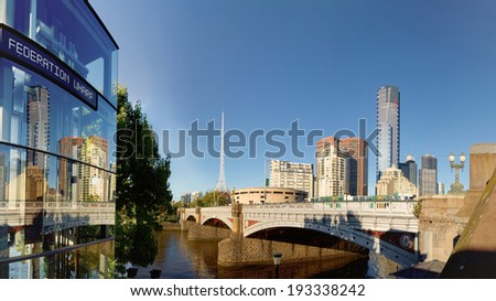 detail of princess bridge over the yarra river in melbourne - stock photo
