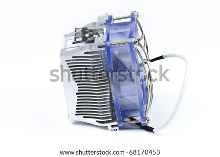 Detail of processor (CPU) cooler on white background. - stock photo