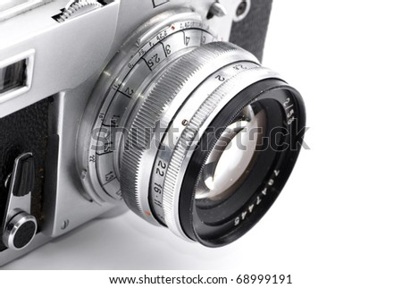 Detail of retro analog camera lens engravings isolated on white