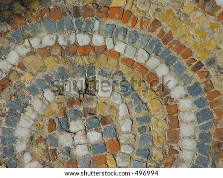 Detail of roman mosaic floor - stock photo
