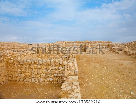 Detail of Roman war camp built in I-III century AD in Negev desert near Nabatean city of Avdat - stock photo