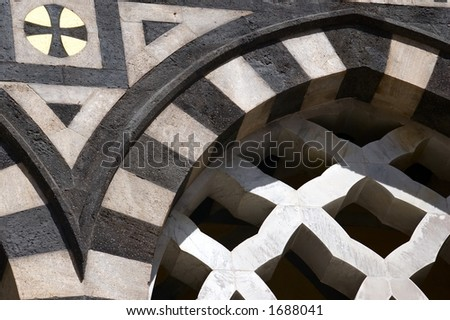 Detail of Saint Andrews cathedral in Amalfi, Italy, three light arch window