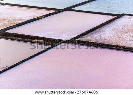 detail of salt basin in salinas de Janubio, Lanzarote - stock photo