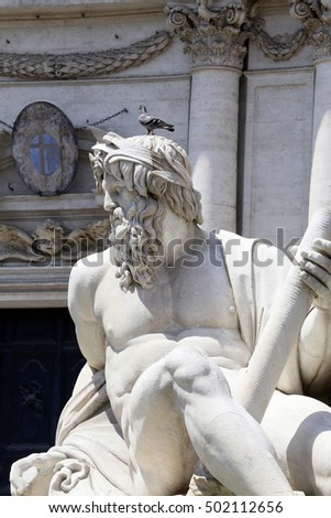detail of sculpture in piazza navona, rome, italy