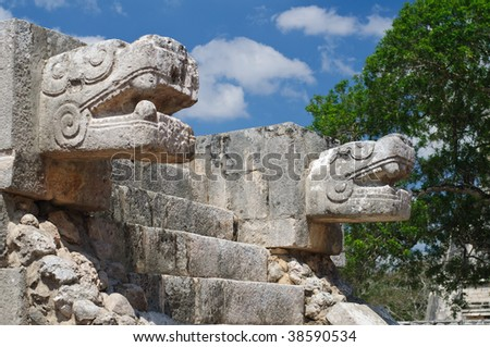 Detail of sculptures from the Temple of the Jaguars and Eagles, Chichen Itza, Mexico. - stock photo
