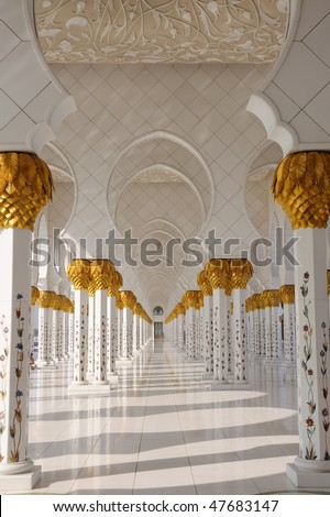 Detail of Sheikh Zayed Mosque, Abu Dhabi, United Arab Emirates - stock photo