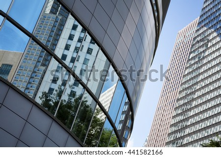 Detail of skyscrapers in the Shinjuku district of Tokyo.  - stock photo
