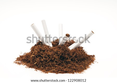 Detail of snuff pipe and several cigarettes - stock photo