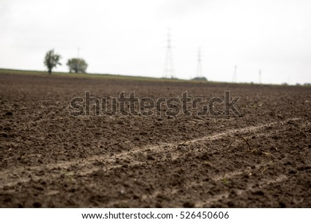 detail of soil at the empty field during autumn