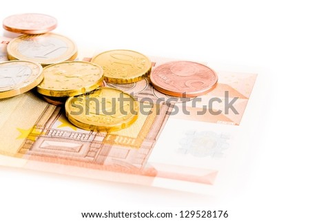 detail of some money euro coins and 50-euro banknote on white background - stock photo