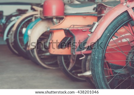 Detail of some old classic motorcycle.  Image is vintage effect - stock photo