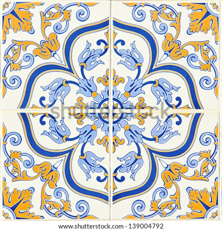 Detail of some typical portuguese tiles (azulejos) at Porto, Portugal - stock photo