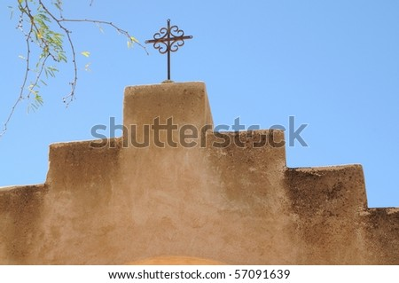 Detail of Spanish mission San Xavier del Bac started in 1692 by Spanish missionaries in the Americas - stock photo