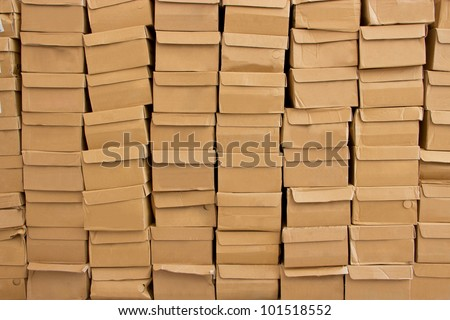 Detail of stacked carton. - stock photo