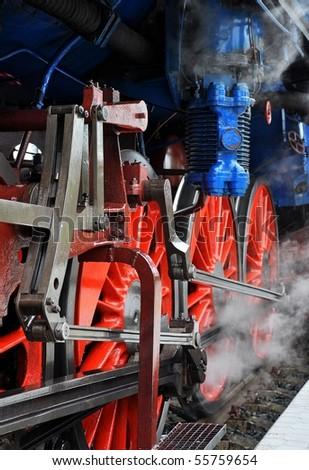 detail of steam locomotive - stock photo