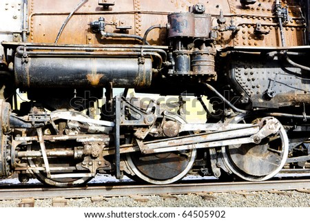 detail of steam locomotive, Colorado Railroad Museum, USA - stock photo