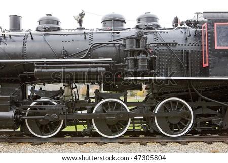 detail of steam locomotive, Railroad Museum, Gorham, New Hampshire, USA - stock photo