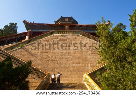 detail of steep staircase leading to the of the new summer palace complex in beijing. - stock photo