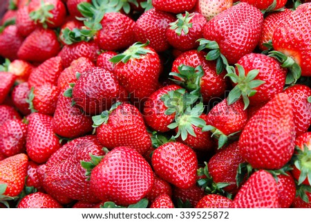 Detail of strawberry in group - stock photo