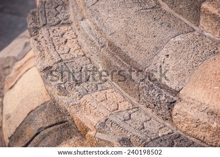 Detail of stufa close up at Borobudur temple in Yogyakarta, Indonesia - stock photo