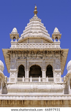 Detail of sumptuous mogul style white marble Jaswant Thada rajah memorial, Jodhpur, Rajasthan, India. - stock photo