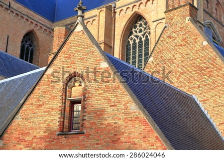 Detail of sunny building of St Salvator's Cathedral, Bruges, Belgium