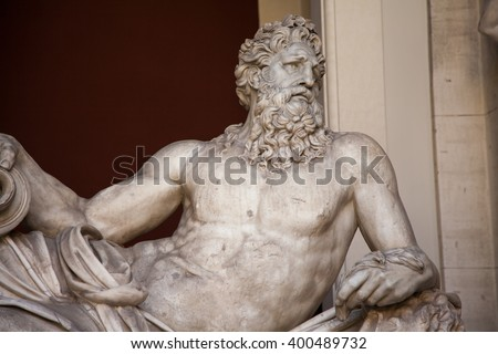 Detail of the ancient River God Tiber sculpture - stock photo