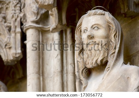 Detail of the apostles door in the Cathedral of Valencia, Valencia, Spain - stock photo