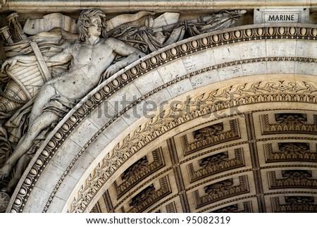 Detail of the Arch of Triumph, Paris (France) - stock photo