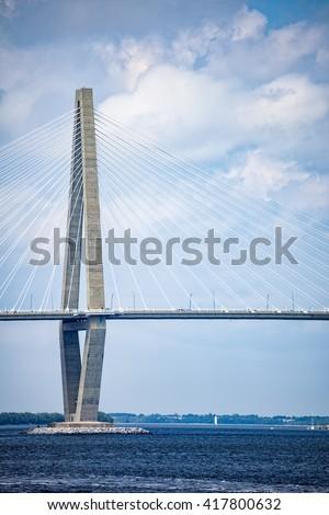 Detail of the Arthur Ravenel Jr. bridge in Charleston, South Carolina over the Cooper River - stock photo